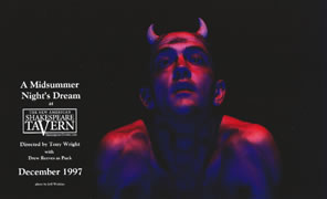 Poster of A Midsummer Night's Dream at the Shakespeare Tavern with a picture of Drew Reeves as Puck, tiny horns on his head, coming out of the darkness in a red light